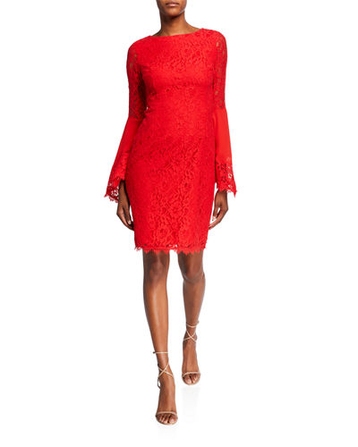 Red Lace Dress Neiman Marcus