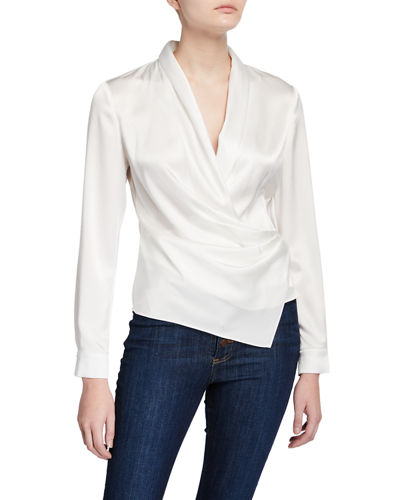 Aurora Draped Shawl-Collar Wrap Top