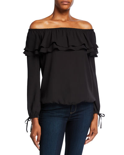 Off-the-Shoulder Long-Sleeve Ruffle Peasant Top