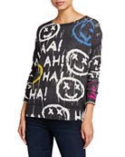 Lisa Todd Ha! Graffiti Cotton/Cashmere Sweater