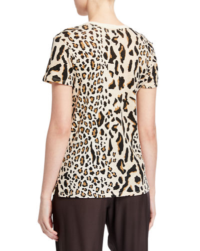 ATM Anthony Thomas Melillo Mixed Leopard-Print Schoolboy Crewneck Tee