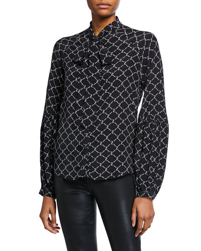 Printed Tie-Neck Blouson-Sleeve Top
