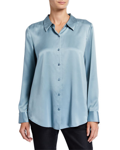 Petite Sandwash Silk Button-Front Long-Sleeve Shirt