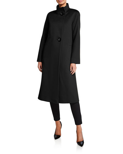 Stand-Collar 2-Button Wool Coat