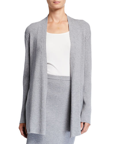 Washable Wool Long Rib Cardigan