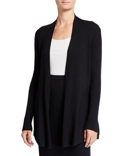 Plus Size Washable Wool Long Rib Cardigan