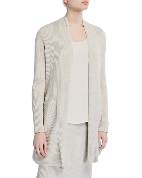 Eileen Fisher Plus Size Washable Wool Long Rib Cardigan