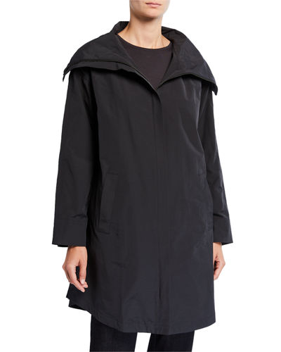 Plus Size High-Collar Zip-Front Organic Cotton/Nylon Coat