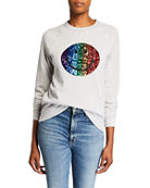 Melissa Masse Sequin Smiley Face Raglan-Sleeve Sweatshirt