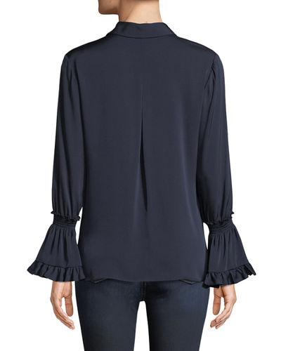 Kobi Halperin Plus Size Hana Silk Blouse w/ Bell Sleeves