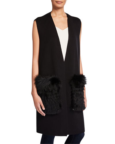 Plus Size Roanne Sweater Vest w/ Removable Fur Trim