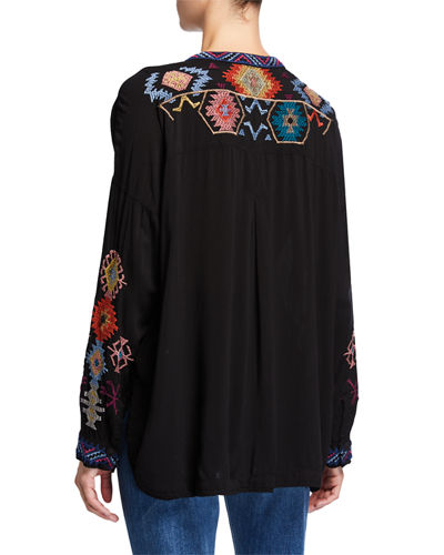 Johnny Was Meshika Embroidered Challis Blouse