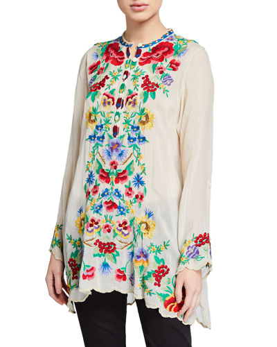 Plus Size Gala Floral Embroidered Long-Sleeve Tunic