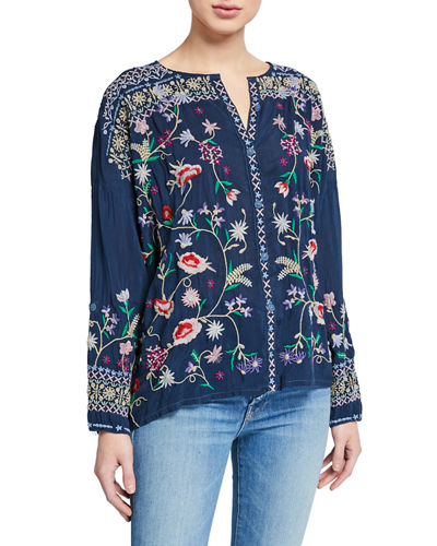 Plus Size Gisella Floral Embroidered Button-Down Blouse