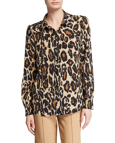 Mariah Printed Silk Button-Down Top