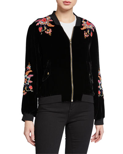Johnny Was Ioana Velvet Bomber Jacket with Embroidery
