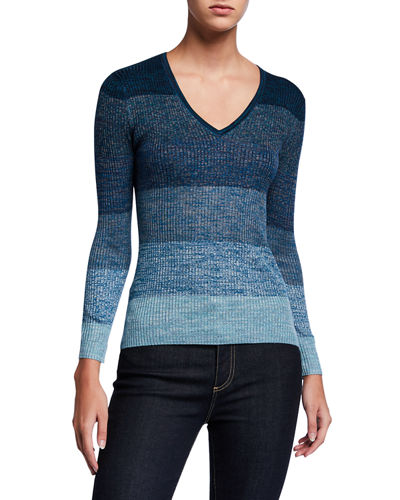 JED Aquarelle Gradient V-Neck Mini Rib Top