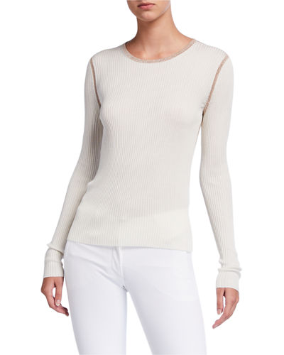 Mini Rib Long-Sleeve Crewneck Silk Top with Metallic Trim