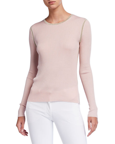 JED Mini Rib Long-Sleeve Crewneck Silk Top with Metallic Trim
