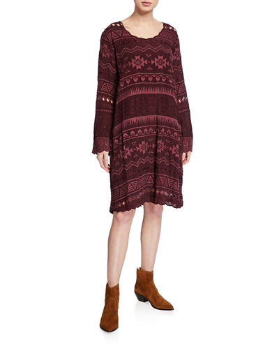 Johnny Was Plus Size Avery Embroidered Scoop-Neck Long-Sleeve Dress