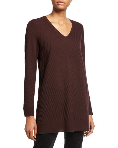Plus Size Textured Wool Crepe V-Neck Sweater