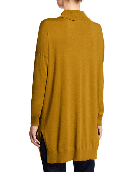 EILEEN FISHER Tunics PETITE LIGHTWEIGHT COZY TURTLENECK TUNIC