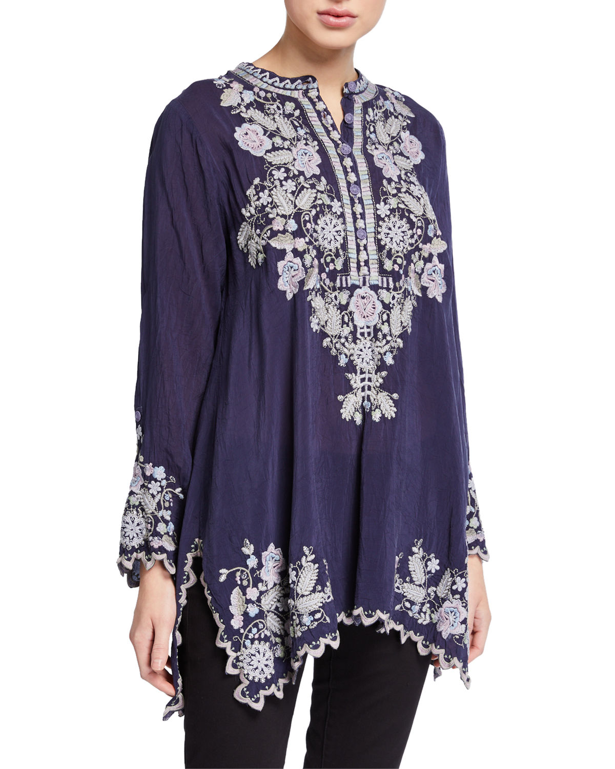 Johnny Was PLUS SIZE MAYAN IVORY EMBROIDERED LONG-SLEEVE TUNIC