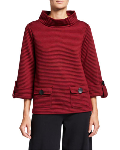 Plus Size Ottoman Mock-Neck Two-Pocket Pullover