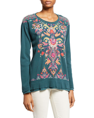 Ioana Long-Sleeve Embroidered Thermal Top