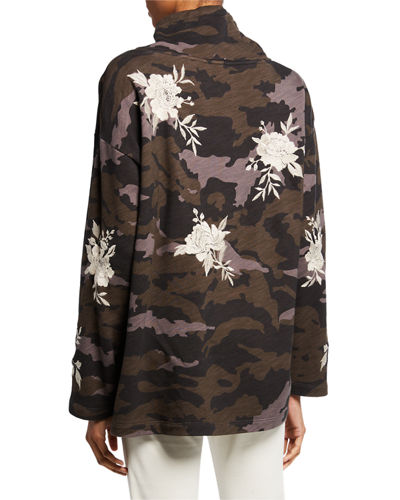 Johnny Was Santal Camo Drawstring Turtleneck Sweatshirt