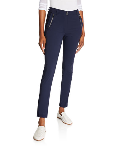 Gail High-Rise Ankle Pants with Zipper Pockets