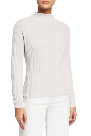 Vince Ribbed Raglan Mock-Neck Sweater