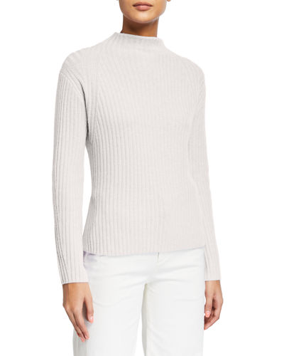 Ribbed Raglan Mock-Neck Sweater