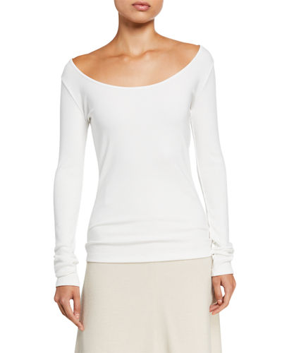 Deep Scoop Neck Long-Sleeve Top