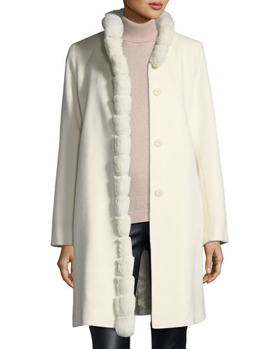 Fleurette Fur-Trimmed Stand-Collar Wool Coat
