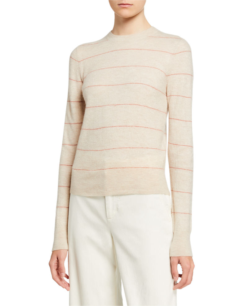 Vince Striped Fitted Cashmere Sweater
