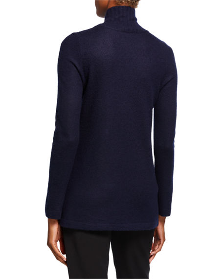 Image 2 of 2: Vince Cashmere Side Slit Turtleneck Tunic Sweater