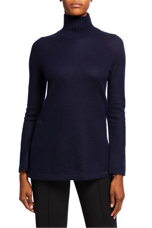 Vince Cashmere Side Slit Turtleneck Tunic Sweater