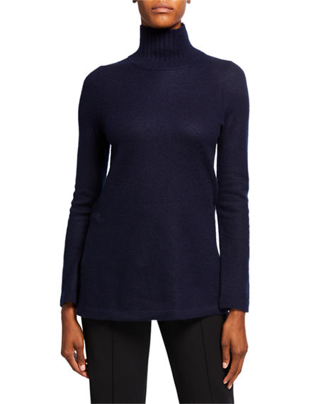 Image 1 of 2: Vince Cashmere Side Slit Turtleneck Tunic Sweater