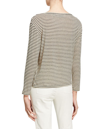 Vince Pencil Stripe Drop Shoulder Crewneck Top