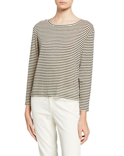 Pencil Stripe Drop Shoulder Crewneck Top