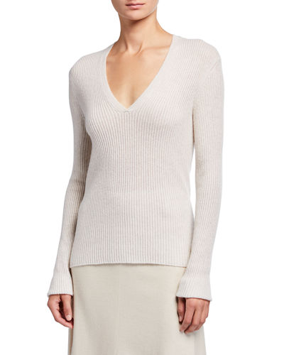 Cashmere V-Neck Mini Cable Knit Sweater