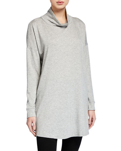Plus Size Turtleneck Side-Slit Long-Sleeve Terry Tunic