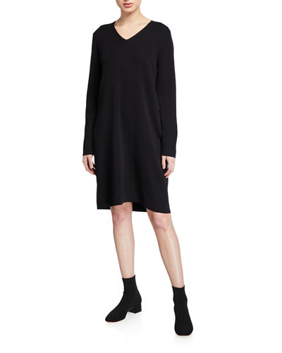 Eileen Fisher Washed Fine Wool Crepe V-Neck Long-Sleeve Dress