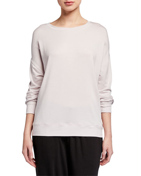 Eileen Fisher Petite Round-Neck Long-Sleeve Jersey Box Top
