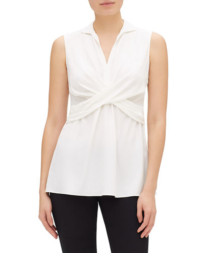 Thalia Sleeveless Ruched Matte Silk Blouse