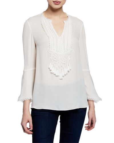 Paulette V-Neck Long-Sleeve Silk Blouse