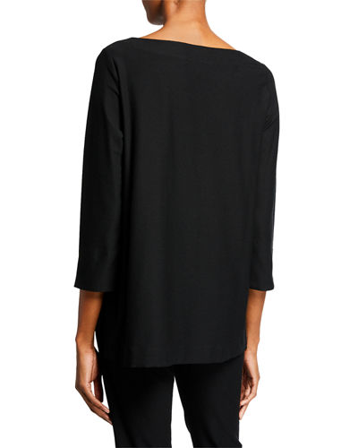 Eileen Fisher Plus Size Boat-Neck 3/4-Sleeve Washable Crepe Tunic