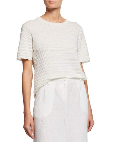 Organic Linen & Cotton Crewneck Short-Sleeve Textured Sweater
