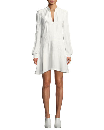 Derek Lam 10 Crosby Long-Sleeve Cotton Shift Dress with Lace Details
